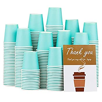 300 Pack Sky Blue Paper Hot Cups 3Oz Disposable Paper Coffee Cups Paper Cups for Bathroom Use,Drinks & Snacks