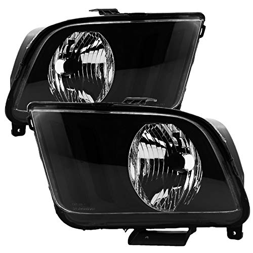 Carpartsinnovate For 05-09 Ford Mustang GT Replacement Black Headlights Front Driving Head Lamps