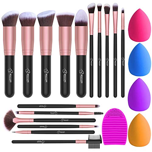 BESTOPE Makeup Brushes 16PCs Makeup Brushes Set with 4PCs Makeup Sponge and 1 Brush Cleaner Premium Synthetic Foundation Brushes Blending Face Powder Eye Shadows Make Up Brushes Tool(Rose Gold)