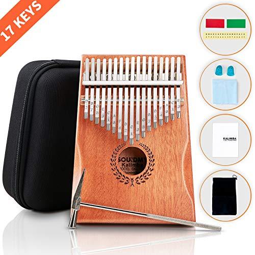 Souidmy Kalimba, 17 Tasti Thumb Piano con Box Protettivo, Martello Sintonizzatore, Strumenti musicale portatile ed regalo per Principianti e Professionisti