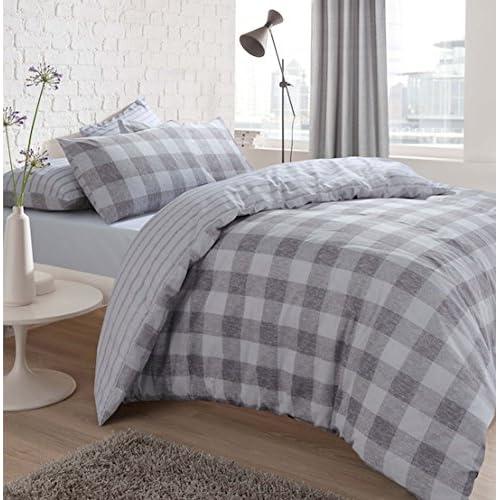 48e246eb281e5 Sleepdown Oversized Gingham Check Grey Duvet Cover & Pillow Cases Set  (Super King).