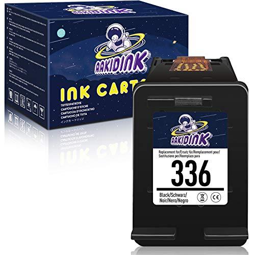 AAKIDINK Remanufacturado para hp 336 Negro Cartuchos de tinta para HP OfficeJet 100 7110 H470 K7100 7210 7310 Photosmart C3180 2575 C4180 C3100 8450 2610 8150 PSC 1510 2510 2355 Impresoras(1 Paquete)
