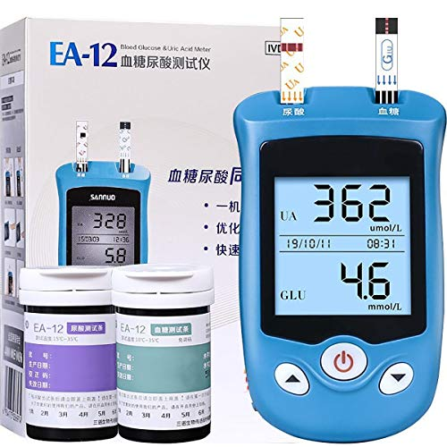 Summer Diabetes Testing Kit, 2 In 1multifunction Uric Acid Diabetes Household Automatic Detector with 50 Blood Glucose and 50 Uric Acid Test Paper