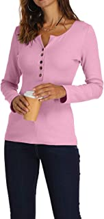 Zaoqee Women's Henley V Neck Button Up Shirts Casual Slim Fitted Long Sleeve Basic Blouse Tops