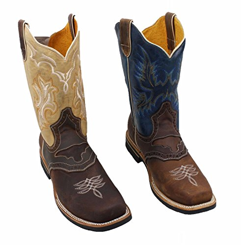 Men Genuine Cowhide Leather Square Toe Western Boots_Brown Tan_Size 7.5