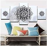 RomantiassLu 5 Pièces Peintures pour Le Salon Neige Fond Islamique Musulman Arabe Mur Affiche Imprimer Mandala Photos...
