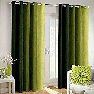 Shree Ram Decor Polyester Blend Long Crush Eyelet Door 7 ft Curtains (Green) Set of 2
