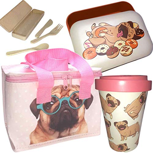 Bamboo ECO Lunch Box Set with Cool Bag - Reusable Bamboo Cup- Made from Sustainable Bamboo - Pug Design for Men Women Boys and Girls - Each Set Comes with a Complimentary Bamboo Cutlery Set