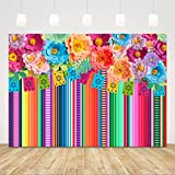 Mexican Fiesta Backdrop Photobooth Flowers Fiesta Background Drop Cinco De Mayo Backdrop for Pictures 7x5ft Floral Stripes Flags Birthday Party Mexican Party Decorations Mexican Photo Booth Props