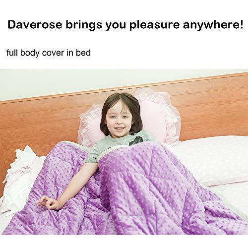Daverose Schwere Decke Kinder 4.6 kg 97 * 158cm Weighted Decke Schweres Kinder Decke Violett&Hellgrau ZLT-LG97