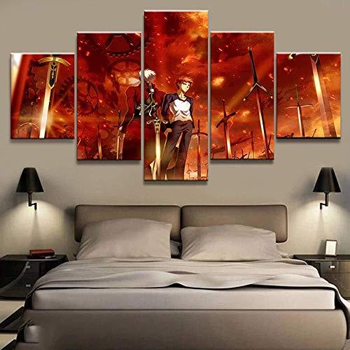 SBZJJ Dekoration Modulare Bild Leinwand 5 Stück Fate Stay Night Archer Animation Malerei Poster Wandkunst Wohnzimmer Gerahmte Große Größe-12X16Inch,12X24Inch,12X32Inch