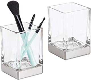 mDesign Modern Square Glass Bathroom Vanity Countertop Tumbler Cup for Rinsing, Drinking, Storing Dental Accessories and Organizing Makeup Brushes, Eye Liners - 2 Pack - Clear/Brushed