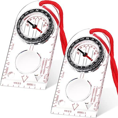 Navigation Kompass Orientierung Kompass Pfadfinder Kompass Wander Kompass mit Einstellbar Deklination zum Lesen von Expedition Karten, Orientierungslauf und Überleben (2 Stücke)