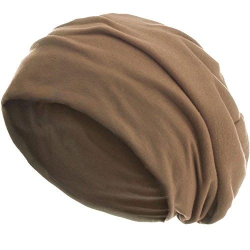 style3 Slouch Beanie aus atmungsaktivem, feinem und leichten Jersey Unisex Mütze Haube Bini Einheitsgröße, Farbe:Camel