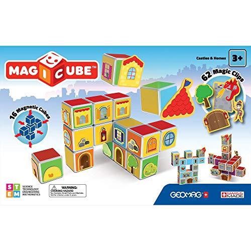 Geomag- Castles & Homes Gioco di Costruzione con Cubetti Magnetici, Multicolore, PF.331.144.00