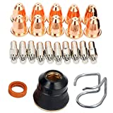 RX WELD 23pcs Plasma Cutter Torch S45 Accessory Kit PR0010 Electrodes PD0116-08 Nozzle Tips Spacer Guide Retaining Cap Gas Diffuser CV0010 Consumables For S45 Torch