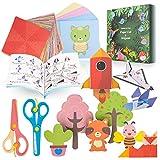 Color kit de Origami y Corte de Papel,108 Hojas Vivos Doble Cara Origami y 100 Hojas Doble Cara Corte de Papel,Buenas Ideas para La Formación de Principiantes y Lecciones de Manualidades Escolares
