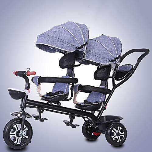 Dubbele peuter & baby kinderwagen driewieler, draaibare zitwagen, ultra lichte grote opbergmand gordel jongens meisjes vouwfiets, grijs