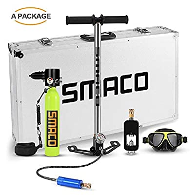 Qians S300 Pro Smaco Diving Tank Equipment,Mini Scuba Cylinder High Pressure Air Pump with 5-12 Minutes Scuba Tank Refill Adapter for Underwater Diving Breathe Training (S300+-PlusA)