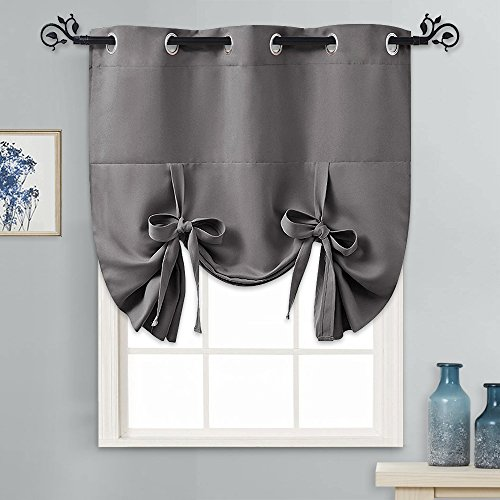 PONY DANCE Tie Up Curtain - Small Kitchen Curtains and Valances Set Blackout Adjustable Silver Grommet Top Roman Shades for Window Home Decoration, 1 Panel, W 46 x L 63 in, Grey