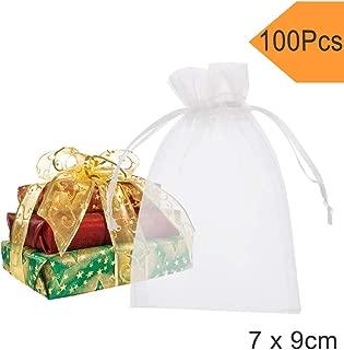 Fushing Bolsas de organza, 7x9cm, 100 unidades, transparentes, para decoración y regalos