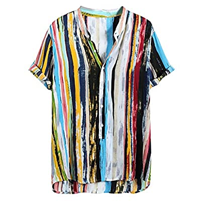 STORTO Mens Cotton Linen Shirts Colorful Striped Button Up Pocket Short Sleeve Summer Casual Hawaii Tops Tee Shirts
