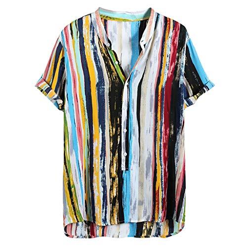 Xmiral T-Shirt Hemd Herren Kurzarm Henry Kragen Hawaii Stil Gedruckte Sommer Shirt Men's Persönlichkeit Slim Fit Baumwolle und Leinen(z Mehrfarbig,XL)