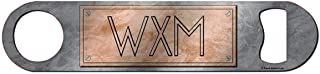 Monogram Bottle Opener - Personalized Copper-Color Name Plate Style - Stainless Steel Bar Blade Bottle Opener