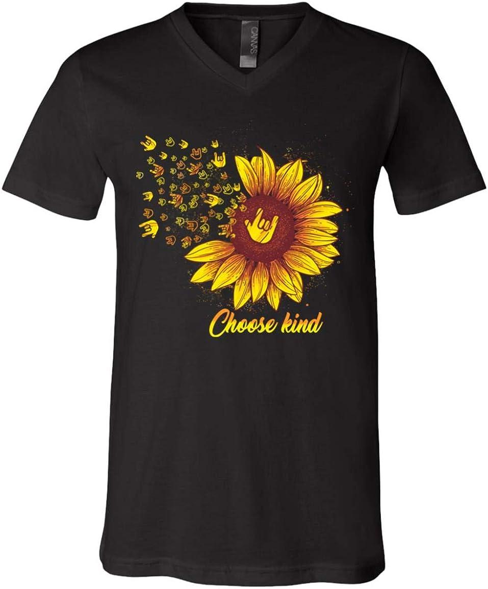 Choose Kind Sign Language Sunflower T-Shirt V-Neck Shirt