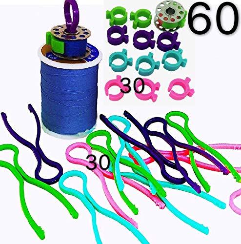PeavyTailor - 60 clips de bobina para máquina de coser, organizador de hilos, 30 + 30
