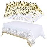 nuoshen - Tovaglia bianca di carta con pois dorati e 50 tovaglioli abbinati, ideale per feste di compleanno