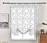 Aspthoyu Tie Up Semi Sheer Curtains with Embroidered Vine Pattern Window Treatment Valance Roman Balloon Curtains Rod Pocket 46x63 inch, Blue