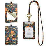 Rose Lake Badge Holder Lanyard Floral String ID Card Holder with Mirror, Leather Detachable Keychain Wallet Gift for Teacher Office Woman Girls - Flower Orange
