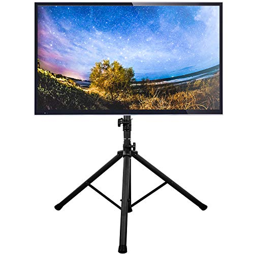 5Rcom TV Tripod Stand Display Floor Portable TV Stand Foldable Height Adjustable Fits Most 32-70 Inch LCD LED Flat/Curved Screen TVs up to 100 Lbs, Swivel and Tilt Mount with Max VESA 600x400mm, Black