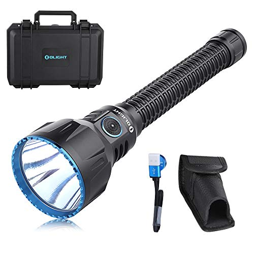 OLIGHT Javelot Turbo 1300 Lumens LED Tactical Flashlight 1300 Meters Throw, Rechargeable Dual-Switch Tactical Light with Built-in Battery Pack, MCC3 Charging Cable, for Hunting Search & Rescue