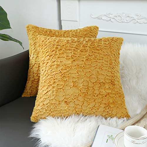 sykting Yellow Pillow Covers Soft Plush Faux Fur Fuzzy Throw Pillow Cases Decorative for Couch Sofa Bed Chair 18x18 inch Pack of 2