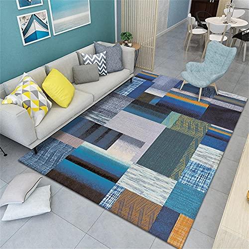 Cuadros Salon Modernos Grandes Carpet Alfombra de salón Azul Moderna insonorizada Suave,...