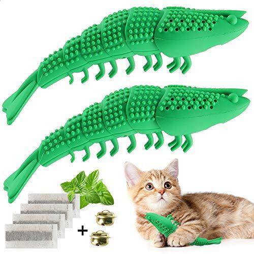 EKKONG Katzen Zahnbürste, Katze Fischform Zahnreinigung Spielzeug, Katzen Silikon Molar-Stick Zahnpflege Katzenminze Spielzeug, Zahnbürste für Katzen, 2 Pack