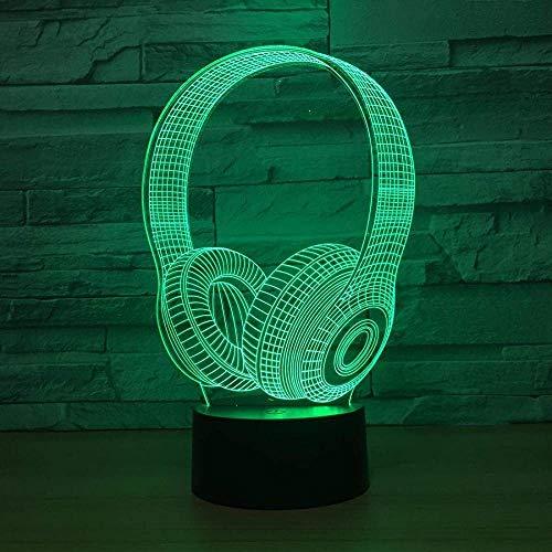 FYLART Illusion Lámpara 3D con forma de auriculares LED lámpara de noche de 16 colores lámpara de mesa led arte luz nocturna para niños con USB y control remoto regalos de Navidad para niños
