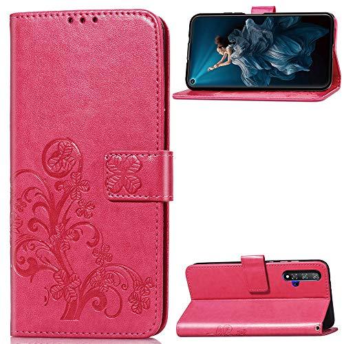Luckyandery - Funda tipo cartera para Huawei Honor 20 (piel, tarjetero, función atril, ranuras para tarjetas de crédito), color rojo rosa
