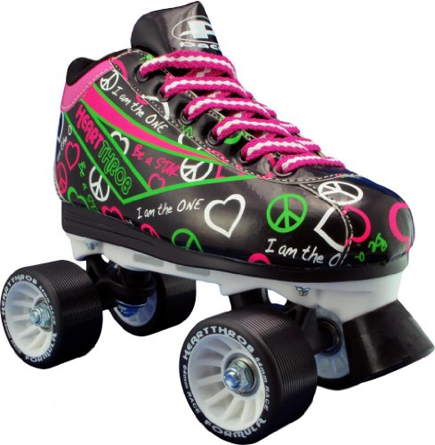 Hot Sale Pacer Heart Throb Womens Black Quad Speed Roller Derby Skates
