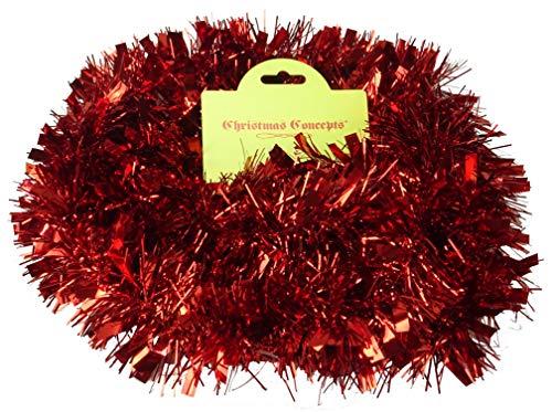 Christmas Concepts 2 Meter Chunky/Fine Christmas Tinsel - Decoración navideña Tinsel (Rojo)