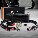 19 Row AN10-10AN Universal Aluminum Engine Transmission Oil Cooler Kit + Oil Filter Adapter Hose End Black