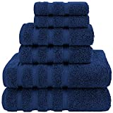 American Soft Linen Towel Set, 2 Bath Towels 2 Hand Towels 2 Washcloths Super Soft and Absorbent 100% Turkish Cotton Towels for Bathroom and Kitchen Shower Towel Navy Blue