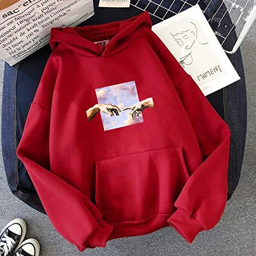 Damen-Kapuzen-Sweatshirt, langärmelig, lässig, locker, schlicht, Oversize XXXX-Large rot