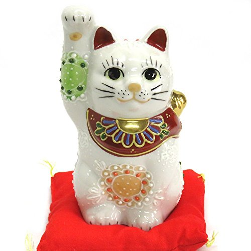 Kutani Japanese Maneki Neko Right Hand Lucky White Cat...