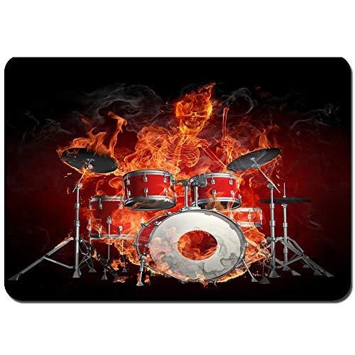 YANAIX Badematten,Feuerschädel spielt Schlagzeug Rock Coole Persönlichkeit,weich waschbar rutschfeste Badteppich 75X45cm