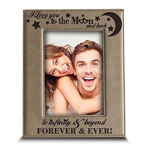"""Bella Busta - I love you to the moon and back, to infinity and beyond, forever & ever - Engraved Leather Picture Frame-Christmas Gift (5""""x 7"""" Vertical)"""