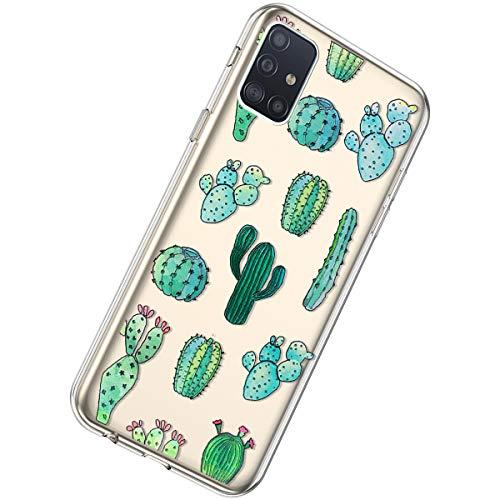 Herbests Kompatibel mit Samsung Galaxy A71 Hülle Silikon Weich TPU Handyhülle Durchsichtige Schutzhülle Niedlich Muster Transparent Ultradünn Kristall Klar Handyhülle,Kaktus