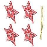 TomaiBaby 8 Piezas de Adornos de Rebanadas de Estrella de Madera Navideña para Colgar Etiquetas de Árbol de Navidad Recortes Decoración para Manualidades de Bricolaje Adornos Navideños